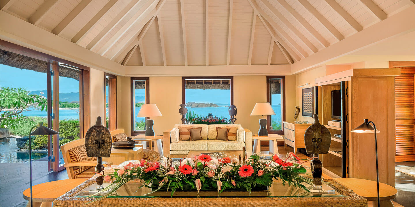 Spacious Living Room in The Royal Villa With Private Pool at The Oberoi, Mauritius