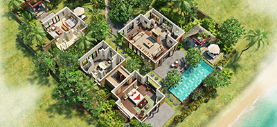 View the 3-D Room Plan of Two Bedroom Presidential Villa with Private Pool at The Oberoi, Mauritius