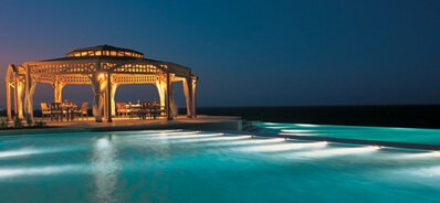 Private Dining on The Floating Pier Upon The Red Sea Under The Wooden Canopy at The Oberoi, Sahl Hasheesh