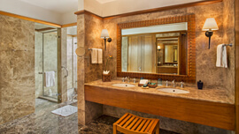Impeccable Bathroom With Sunken Bathtub & Vari Pressure Shower in The Grand Suite at The Oberoi, Sahl Hasheesh