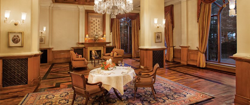 Lutyens, The Private Dining Restaurant at Wildflower Hall, Shimla in The Himalayas