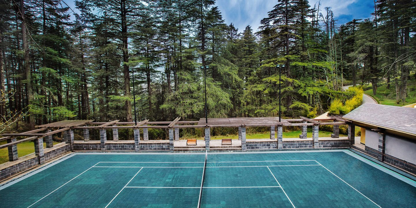 Tennis Court at Wildflower Hall, Shimla in The Himalayas