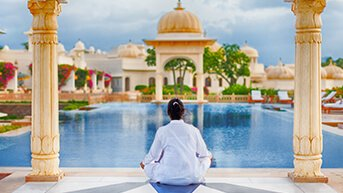 Deep Blue Tiled Reflective Pools at The Oberoi Udaivilas, Udaipur