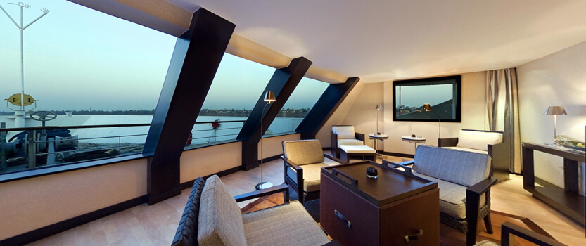 The Library & Cigar Lounge Open 24 Hours - The Oberoi Zahra, Luxury Nile Cruiser