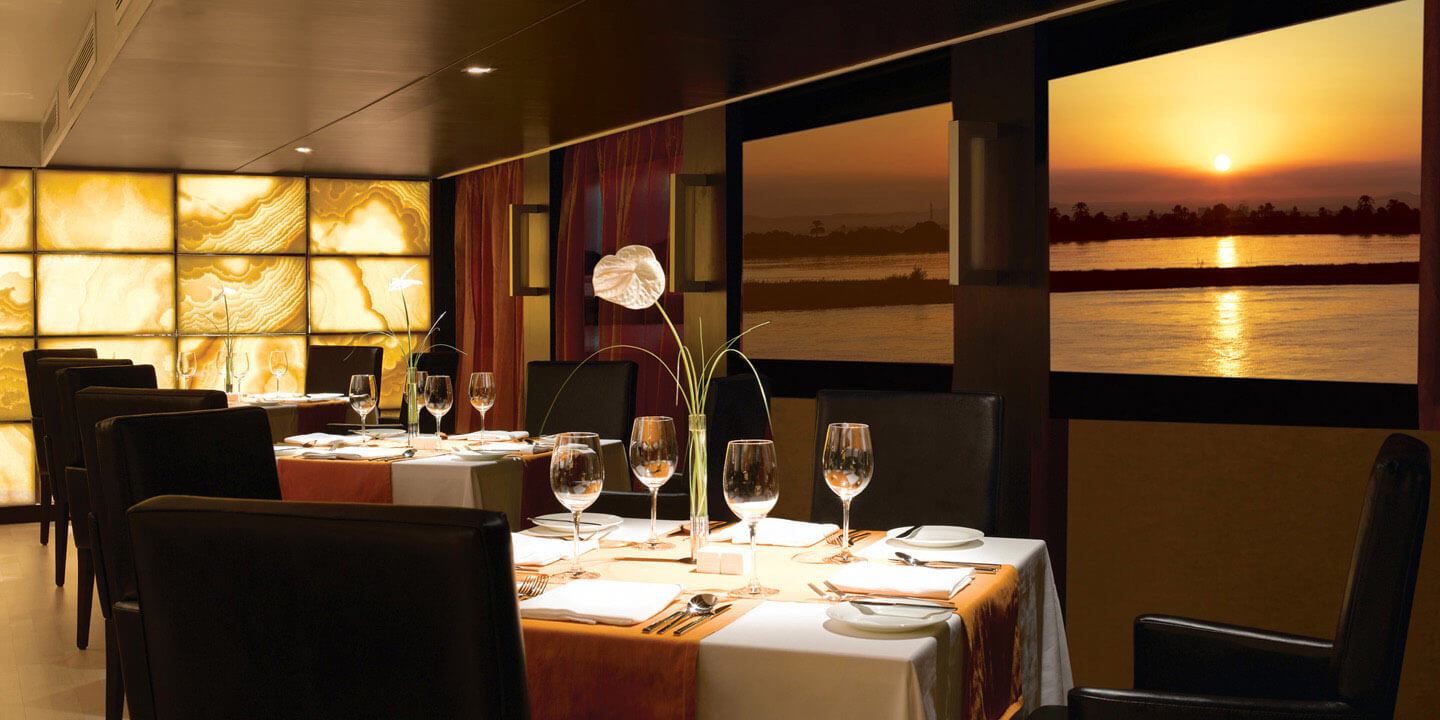 The Restaurant - The All-Day Dining Space on The Oberoi Zahra, Luxury Nile Cruiser